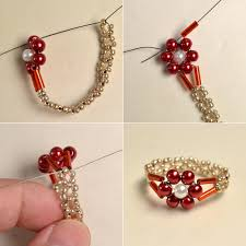 pearl bead flower rings easy picture tute seed bead