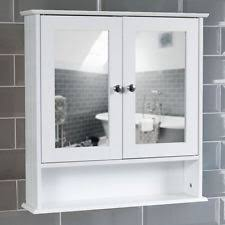 bathroom wall cabinet white 2 door mirrored double mounted storage