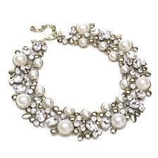 pearl charm necklace images Charm vintage golden chain white pearl rhinestone choker bib jpg