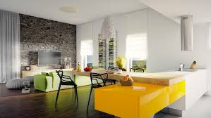 living room kitchen island with yellow floating table also modern