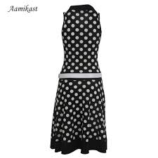 women dresses new fashion print dot without belt american country