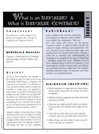 impulse and control activity sheets for elementary students