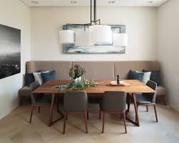banquette bench dining room contemporary with beige bench