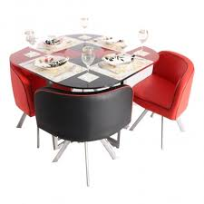 cheap red dining table and chairs retro 4 seater glass top dining set woodys furniture