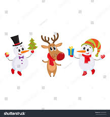 two funny snowman reindeer holding christmas stock vector