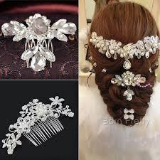 hair decoration 1 96 1pc bridal wedding rhinestone flower bead hair comb