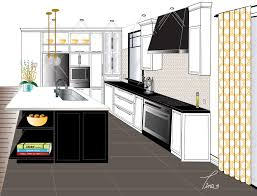 west island kitchen 2 point perspective contemporary kitchen rendering