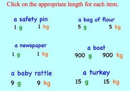 estimation grams and kilograms metric smartboard lessons