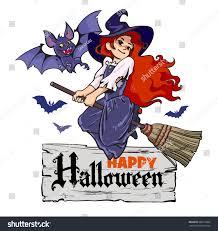 cartoon vampire bat cute young witch stock vector 688519387