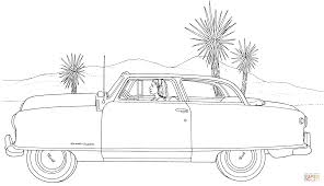 a woman is driving in a desert coloring page free printable