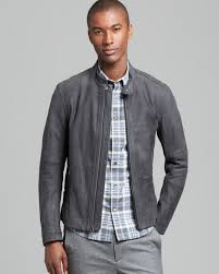 mens leather moto jacket vince waxed nubuck moto jacket in gray for men lyst