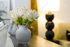 flower vase in beautiful interior design decoration with shallow