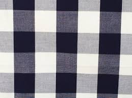 Upholstery Fabric For Curtains Navy Blue And White Gingham Checks Cotton Fabric By The Yard