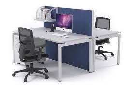 Blue Computer Desk 2 Person Office Workstation Desks Acoustic Screens White Leg