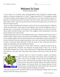 welcome to texas reading comprehension worksheet