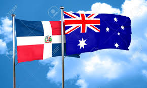 Austrslia Flag Dominican Republic Flag With Australia Flag 3d Rendering Stock