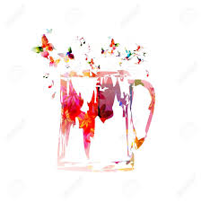 colorful beer mug design with butterflies background royalty free