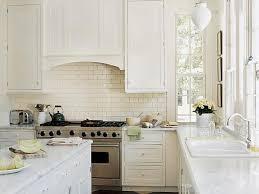 cozy subway tile backsplash on kitchen with impressive white