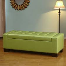 Green Ottoman Adeco Green Bonded Leather Rectangular Ottoman Ft0034
