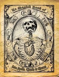 vintage halloween skeleton spell book cover halloween witch spell book cover digital download