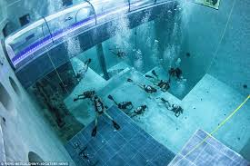 Inside Swimming Pool Inside World U0027s Deepest Thermal Water Pool Daily Mail Online