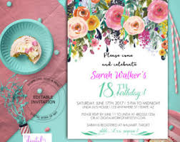 birthday party invitation template watercolor floral