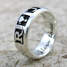 Monogram Ring Gold Wedding Rings Gold Nameplate Ring Personalized Mens Rings Gold