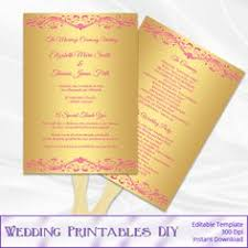 Paddle Fan Program Template Wedding Invitation Set Templates Teal Silver Gray Party Invite