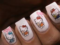 hello kitty nail art designs for kids apply diy 3d stickers
