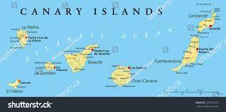 Canary Islands Map Canary Islands Political Map Lanzarote Fuerteventura Stock Vector