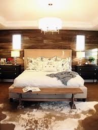 bedroom hgtv bedrooms with bench and cowhide rug for bedroom