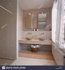 Vanity Units And Basins Cabinets With Mirrored Doors Above Vanity Unit With Bowl Basins In
