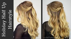 holiday half updo with tousled waves youtube