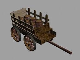 wooden cart for barn wagon telega 3d model free