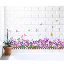 purple flowers with grass home uk wall sticker