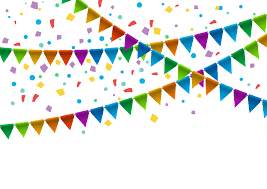 party confetti flags with confetti vector background