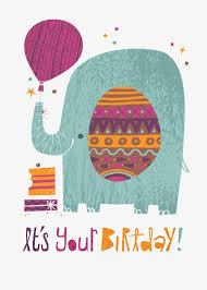 painted elephant birthday card hand painted illustration cartoon