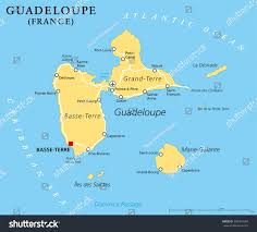 The Caribbean Map by Guadeloupe Political Map Capital Basseterre Overseas Stock Vector