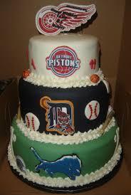 detroit sport teams themed birthday cake 3 tier detroit sport