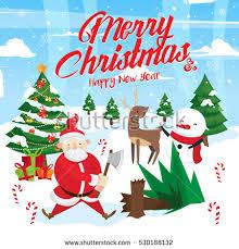 cute santa helpers elf reindeer stock vector 166048550