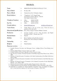 bio data resume sample marriage format for job application