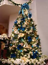 christmas tree decorations with blue ribbons u2013 happy holidays