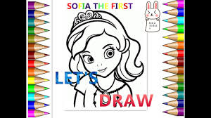 biba kidstv how to draw sofia the first coloring pages easy