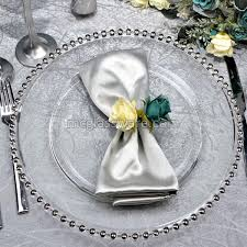 silver wedding plates silver beaded clear glass charger plates suppliers in china