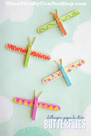 clothespin popsicle stick butterflies kid craft butterfly kids