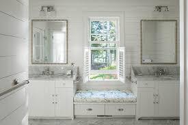 portland maine mirrored vanity bench bathroom beach style with