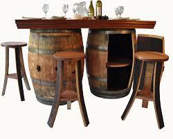 barrel bar table wine barrel bar and island set with wine rack