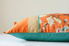 new orange floral patchwork pillow cover bright orange discovered
