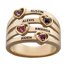 family rings for floating hearts birthstones and names family ring 41491 limoges
