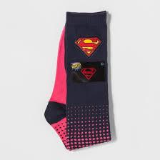 s light up dc comics supergirl knee high socks pink 9 11